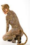 Puma cub. Hot beautiful model in latex leopardess costume stock photos