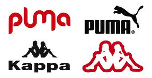 Puma and Kappa logos printed on paper. Kiev, Ukraine - February 22, 2017: Puma and Kappa logos printed on paper and placed on white background stock image