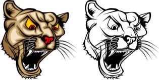 Puma-/Leoparden-Maskottchen-Zeichen Lizenzfreie Stockbilder