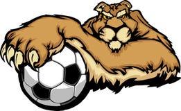 Puma-Maskottchen mit Fußball-Kugel-Abbildung Stockfotografie