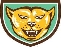 Puma Mountain Lion Head Shield Woodcut Stock Photography
