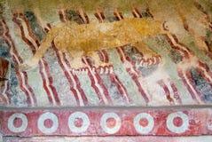 Puma mural, or Jaguar Mural at Teotihuacan, Mexico. Stock Photo