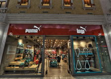 PUMA in Villaggio Mall in Doha. Villaggio Mall in Doha, the capital city of Qatar, is a world class shopping destination surrounded by charming Venetian-styled Royalty Free Stock Images