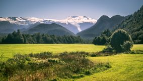 Pumalin Natuurreservaat op Carretera Zuidelijk in Patagonië, de gletsjers en de bossen van Chili royalty-vrije stock foto