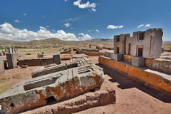 Pumapunku. Tiwanaku archaeological site. Bolivia. Tiwanaku is a Pre-Columbian archaeological site in western Bolivia. Pumapunku or Puma Punku is part of a large royalty free stock images