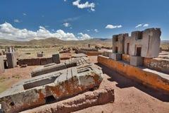 Pumapunku Tiwanaku arkeologisk plats _ Royaltyfria Bilder