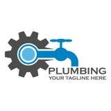 Pumbing-Service-Logoschablone Lizenzfreie Stockfotos