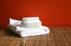 Pumice brush and towel at a spa - health and beauty stock photo