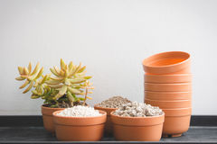 Pumice pebbles in cray pot and gardening tool Stock Photography