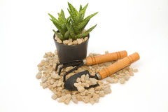 Pumice pebbles  in cray pot and gardening tool Stock Photos