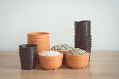 Free Pumice Pebbles In Cray Pot And Gardening Tool Stock Photography - 92800192