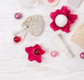 Pumice stone and bath set Royalty Free Stock Photos