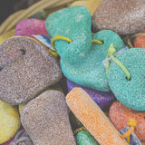Pumice stone in the souvenir shop, colorful pumice stone, Differ Royalty Free Stock Images