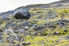 Pumice stones in valley of Solheimajokull glacier Stock Image