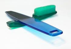 Pumicing verde e nailfile blu Fotografia Stock Libera da Diritti