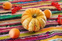 Pumkin, apricot and redcurrant on patchwork napkin. Pumkin, apricot and redcurrant on motley patchwork napkin Stock Photo