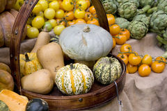 Pumkin in basket. Royalty Free Stock Photography