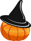 Pumkin in a black hat stock illustration