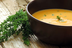Pumkin and carrot soup Stock Images