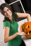 Beautiful Mother Does Halloween Pumkin Carving Royalty Free Stock Images