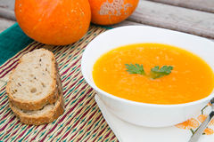 Pumkin cream soup Royalty Free Stock Photos