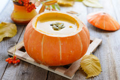 Pumkin cream soup with seeds Stock Image