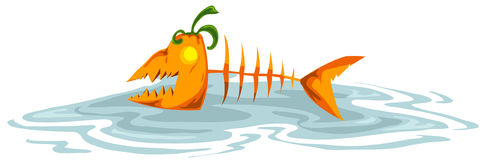 Pumkin fish skeleton Royalty Free Stock Photo