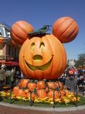 Pumkin at halloween. Mouse pumpkin at the entrance of disneyland californa for mickey`s not so scary halloween party royalty free stock images