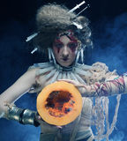 With with pumkin. Halloween theme. Royalty Free Stock Photo