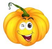 Pumkin head. Illustration of a pumpkin winking stock illustration