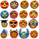 Pumkin Icons Set 1. Vector illustration of 16 colored Halloween pumpkin emotions Royalty Free Stock Photos