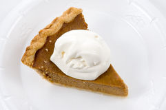 Pumkin Pie. A slice of pumpkin pie with whipped cream Royalty Free Stock Image
