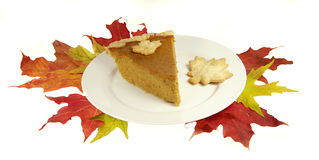 Pumkin Pie with Fall Leaves Royalty Free Stock Photo