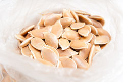 Pumkin seeds bag Royalty Free Stock Images
