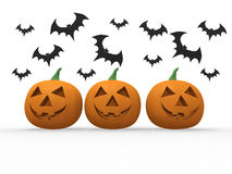 Pumkins and bats Stock Images