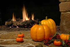 Pumkins at the Fire Place Stock Image