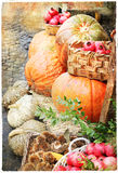 Pumkins in market Vintage picture Stock Photo