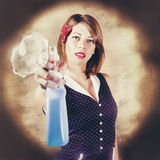Pump action pin up woman killing glass grime Royalty Free Stock Photography