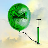 The pump, the balloon with the image of money. Inflating money Stock Images