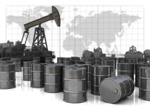 Pump. Barrels and world map Stock Photos
