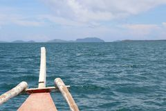 PUMP BOAT IN ISLA GIGANTES IN THE PHILIPPIANS royalty free stock images