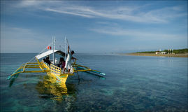Pump boat off Sipaway Island Royalty Free Stock Photography