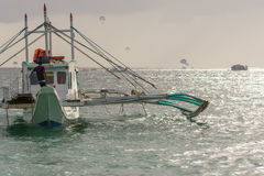 Pump boat of the Philippines floats off shore Stock Photo