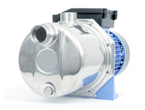Pump with an electric motor. Of blue color Stock Photography