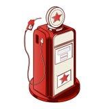 Pump för bensinstation som isoleras på en vit bakgrund Färglinje konst retro design Arkivbild