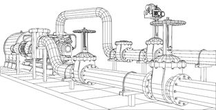 pump för fossila bränslen Tråd-ram för industriell utrustning royaltyfri illustrationer
