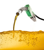 Pump Gasoline. Noozle pumping gasoline in a tank Stock Photography