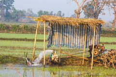 Pump ground water for field rice Royalty Free Stock Images