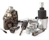The pump of high pressure, air impact wrench, air drill stock photo