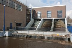 Pump house for watermanagement in the Netherlands Stock Photography
